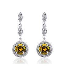 Yellow Round Cubic Zircon Stone Rhinestones Diamante Evening Earrings Lady