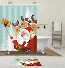 Happy Christmas Waterproof Bath Polyester Shower Curtain Liner Water Resistant