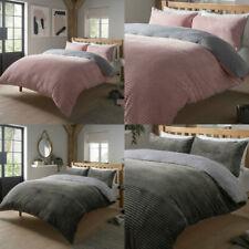 Teddy Bear RIBBED FLEECE Duvet Cover Sherpa Thermal Warm Soft Blush Pink Bedding