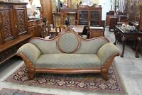 English Antique Walnut Upholstered Victorian Sofa / Living Room Furniture