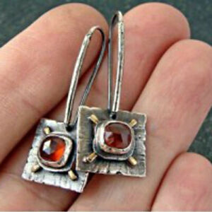 Ethnic Square 925 Silver Red Ruby Ear Hook Studs Women Dangle Drop Earrings