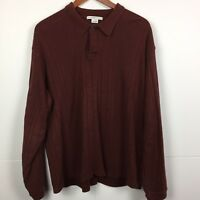 Geoffrey Beene Large  Mens Long Sleeve Sweater Shirt Knit Cotton Casual Maroon