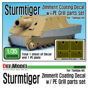 Sturmtiger Zimmerit Decal w/ PE grill set , DEF Model DD35005, SCALE 1/35