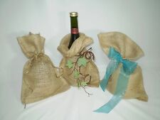 "5 Burlap Jute 8"" x 12"" Bags  Plain Natural Beige Color Crafting and Home Décor"