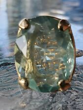 Green Fluorite Solitaire Ring 10kt Solid Yellow Gold