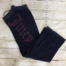 Juicy Couture Women Sweat Pants Blue Velour Pockets Waist Elastic XS Bling