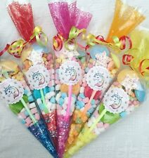 20 X Unicorn Rainbow Theme Pre Filled Sweet Cones Personalised+Free Sweety Bag