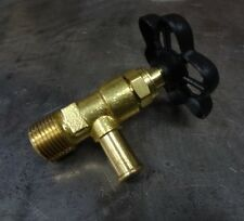 """Brass Faucet Petcock 3/8"""" NPT Stop Cock with BLACK Handle Chopper Bobber Harley"""