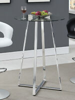 Coaster Modern Bistro Glass Top Bar Game room Table Chrome 100026