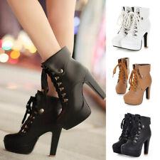 Solid High Heels Stilettos Short Ankle Boots Women Front Lace Up Platform Shoes