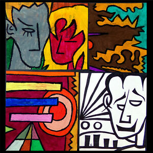 Original Oil Pastel & Ink Drawings x4, Happy Couple (?) Fractured Fractals, Self