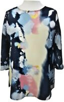 Ladies New Tunic Top 3/4 sleeves Tie Dye Crepe Sofo Curves Plus UK Size 16-18/20