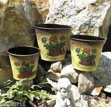 Blumen Übertopf Übertöpfe im 3er Set Metall Begonien Landhausstil Mediterran