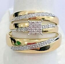 Trio Bridal Set 10k Yellow Gold Over 1Ct His Her Diamonds Wedding Ring Bands