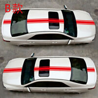 Universal Car Racing Stripes Stickers Vinyl Hood Roof Trunk Decal Decoration Red