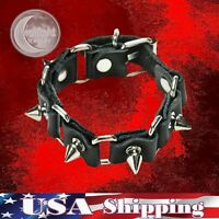 New Gothic Metal Stud Spikes Rivet Leather Wristband Punk Rock Bracelet
