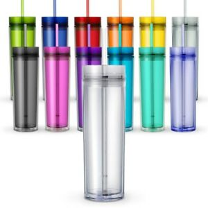 One Tall Skinny Tumblers, Acrylic 16 Ounce Tumblers with Straw