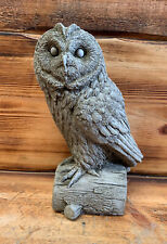 STONE GARDEN OWL ON A LOG GIFT CONCRETE ORNAMENT
