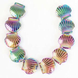 10Pcs/set 10x10x4mm Carved Rainbow Hematite Shell Pendant Bead D68222