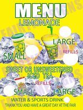 Lemonade Menu Sign Withprice Circles Concession Trailerstandcart 18 X 24 Pvc