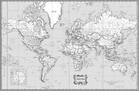 "World Classic Black & White Wall Map Poster - 36""x24"" Rolled Laminated"