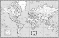 World map original home dcor posters ebay world classic black white wall map poster 36x24 rolled laminated 2017 gumiabroncs