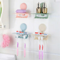 Wall Mounted Suction Cup Toothpaste Toothbrush Holder Hanger Storage JR