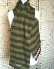 Animal Green Stripped Wool Scarf Thick Doubled Cosy