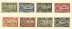 Venezuela: 1938; Small lot of 8 different stamps of set oil, high values. VZ0569