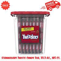 Twizzlers, Strawberry Twists Candy Tub, 33.3 Oz., 105 Ct, Chewy, Low-Fat, Kosher