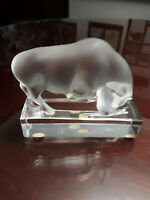Lalique Crystal Bull Paperweight Signed Frosted Bull On Clear Base