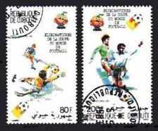Football Djibouti (48) série complète 2 timbres oblitérés