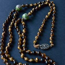 *Vintage Tigers Eye Beads with Cloisonne Double Strand Necklace Decorative Clasp