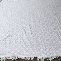 Vintage Chenille Bedspread White On Pale Pink FULL Size 90 X 102 Fringed