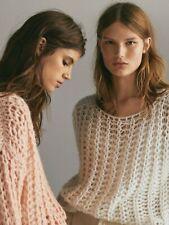 MASSIMO DUTTI Blush Pink Oversized Open Weave Mohair Mx Sweater M 12 14 BNWT €70