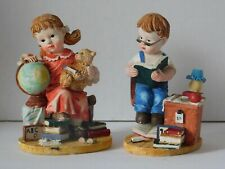 School Girl & Boy Books Figurines