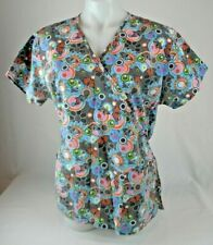 Absolute Multi- Color Butterfly Print Short Sleeve Scrub Top Women's Size Medium