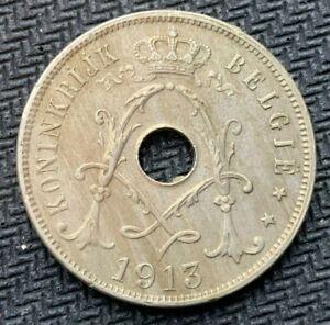 1913 Belgium 25 Centimes AU    High Grade World Coin     #K461