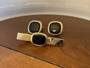 Vintage Anson GOLD FILLED BLACK ONYX CUFFLINKS TIE CLIP