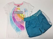 Girls Puma Athletic Running Outfit Size 5 Shirt and Shorts Multi Color