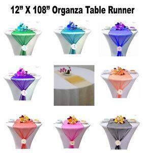 "10/12/15/20/25pc Organza Table Runner Sash Bow Wedding Party Decor 12"" X 108"" NW"