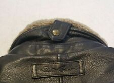 EDDIE BAUER Men's Large Black Leather Bomber Jacket, Lamb Collar, Goose Down EUC