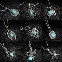 Retro Women Fashion Tibetan Silver Turquoise Bib Crystal Pendant Long Necklace