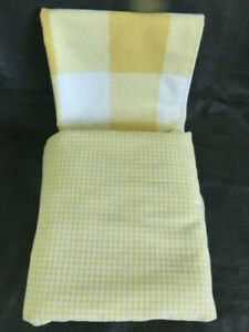 USA Made Springs Industries TWIN Flat Sheet + Pillow Case Yellow Gingham Plaid