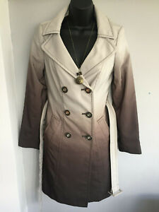 LOVELY THE LIMITED TWO TONE BEIGE & MINK COLOUR DOUBLE BREASTED RAINCOAT - XS