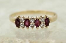 9CT GOLD RUBY & DIAMOND RING SIZE P, ETERNITY, ENGAGEMENT, HALLMARKED, 5MM WIDE