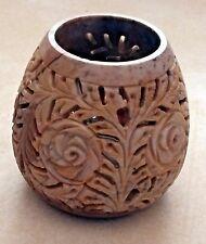 Vintage Carved Rose Pattern Leaves Candle Holder Votive Battery Chocolate Brown