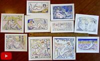 Erotica 1921 Art Deco lot x 10 pochoir prints Nudes embrace recline