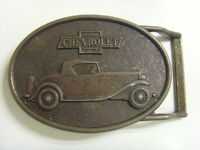 vintage USA america metal belt buckle r j Roberts co Michigan Chevrolet 49024