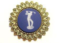 Wedgwood: Lapel Pin, Portland Blue Jasperware With White Golfer On Antique Brass